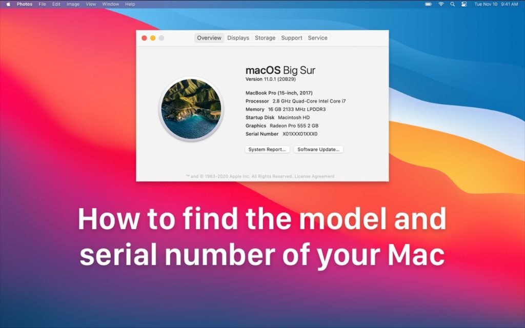 How to find the model and serial number of your Mac